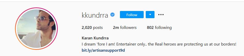 Karan Kundra insta account