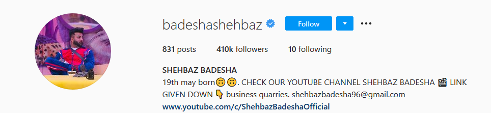 Shehbaz Badesha insta account