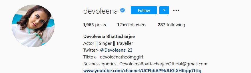 Devoleena Instagram Account