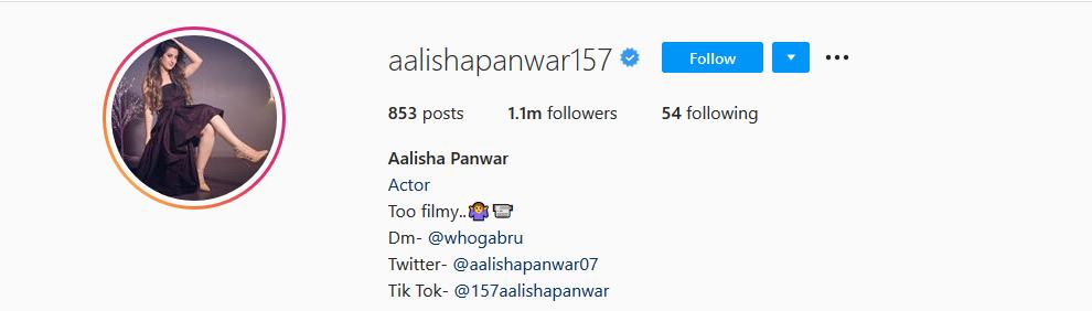 Aalisha Parwar Instagram Account
