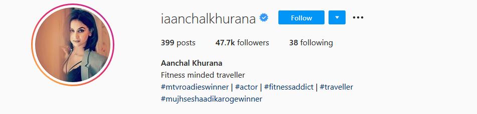Aanchal Khurana Instagram Account