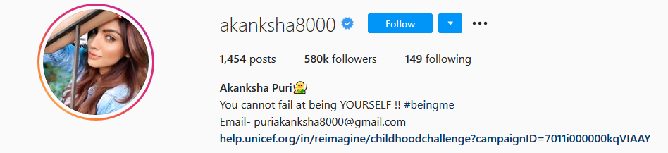 Akanksha Puri Instagram Account