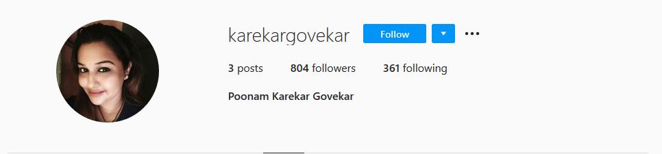 Poonam Karekar Instagram Account