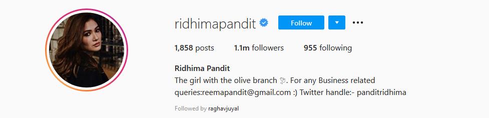 Ridhima Pandit Instagram Account