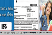 IBPS PO admit card 2020 download