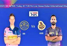 IPL 2020 RR vs KKR