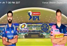 IPL 2020 Mumbai Rajasthan